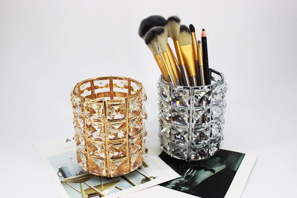 Fashion Metal Crystal Organizer Storage Makeup matita per sopracciglia pettine Pen Holder home office Desktop regalo decorativo per donna