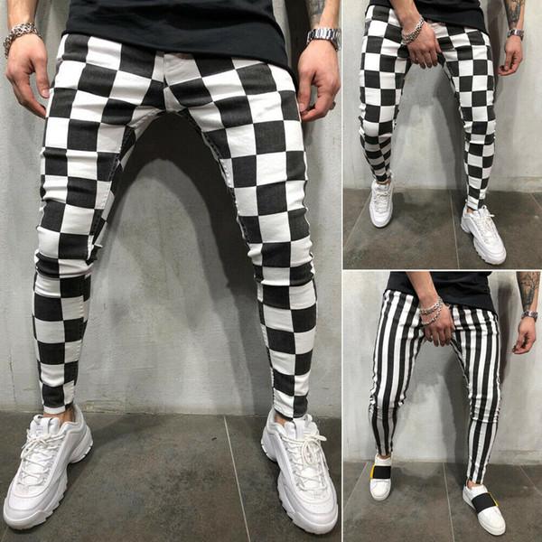 Прохладный Мужчины моды Тонкий Jogger Тощий карандаш брюки Удобная Полосатый плед Hip Hop Повседневные брюки S-XXL