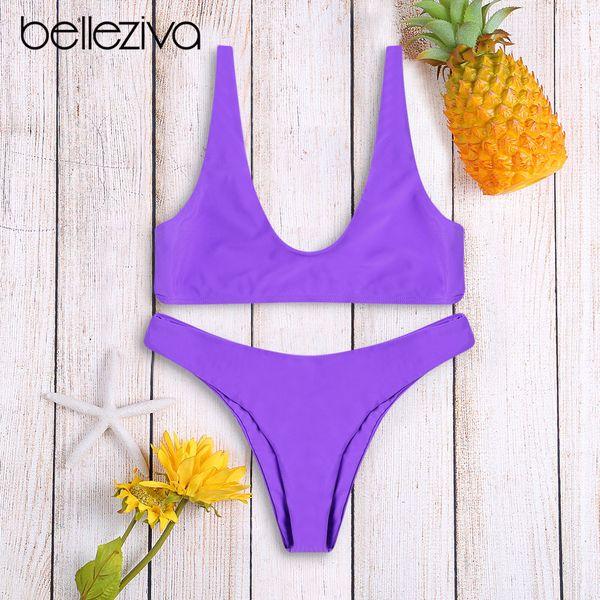 Belleziva Women Push Up Brazilian Swimwear Bathing Suit Female Beachwear Biquinis Solid Color Bikini Set Swimsuit New 7 Colors