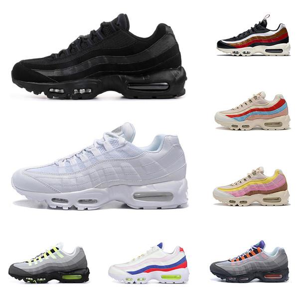 Compre Nuevos Air Max 95 Hombres Mujeres Zapatos Para Correr 95 Triple Negro Blanco Plant Color OF Neon Grape Criado SPLATTER Mens Trainer Zapatillas