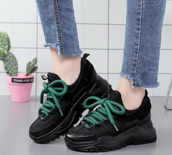 İlkbahar ve sonbahar yeni renk eşleştirme platformu kızlar spor ayakkabı, platform ayakkabılar, dekolte kadınların gündelik ayakkab ...