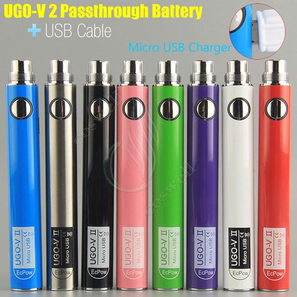 원래 UGO-V II 2 650mah 900mah EVOD 자아 510 배터리 마이크로 USB Passthrough 충전 USB 케이블 기화기 전자 담배 O 펜 Vape DHL