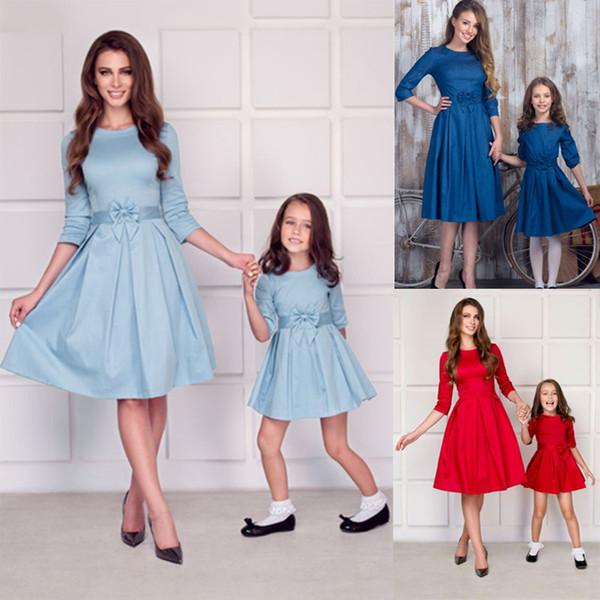 Ebeveyn-çocuk Elbiseler Yay Elbiseler Aile Katı Balo Orta Yarım Kollu Yuvarlak Boyun Fırfır Baskılı Dantel 23