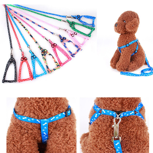 top popular Newest 1.0*120cm Dog Harness Leashes Nylon Printed Adjustable Pet Dog Collar Puppy Cat Animals Accessories Pet Necklace Rope Tie Collar 2020
