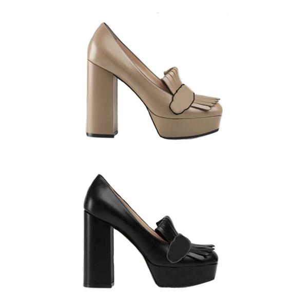 Kadınlar Fringe Espadrilles Ayakkabı ile Tasarımcı Deri Platform Pompa Marmont hattı Kanalları Vintage Loafer'lar Saçak Detay Kutusu Ile Fold