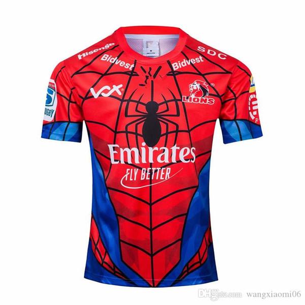 2019 NOUVELLE-ZÉLANDE Super RUGBY Lions SPIDER-HOMME MARVEL RUGBY JERSEY taille S-3XL maillot de maillot de rugby à XV Top qualité livraison gratuite