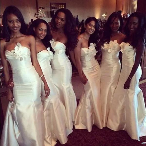 2019 nuovi economici africani abiti da damigella d'onore sirena lunga sirena taffettà bianco avorio fiori plus size wedding party damigella d'onore abiti