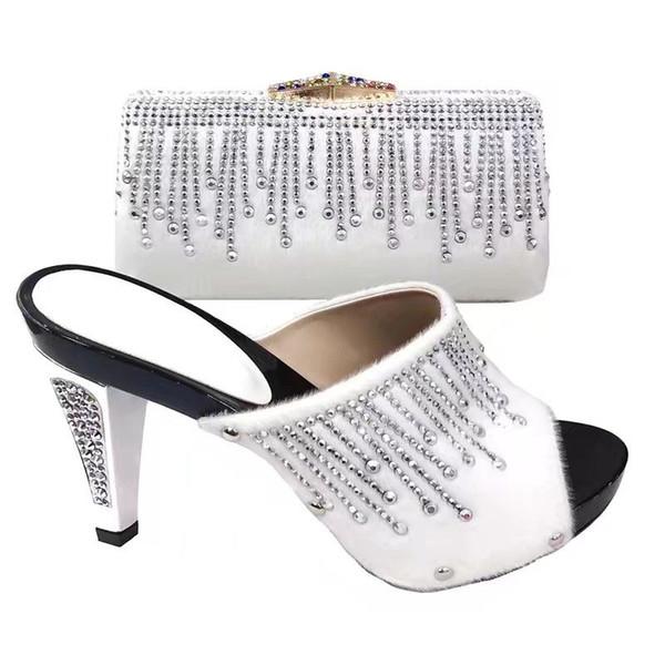 Fashion royal blue women Fur pumps and bag with rhinestone decoration african shoes match handbag set for dress V2083-,heel 12CM