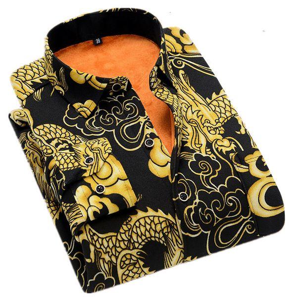 2019 Herfst and Winter Fashion New men Casual Fat Warm Shirt /men Long Mouwen Free Striking and velvet Overshirt