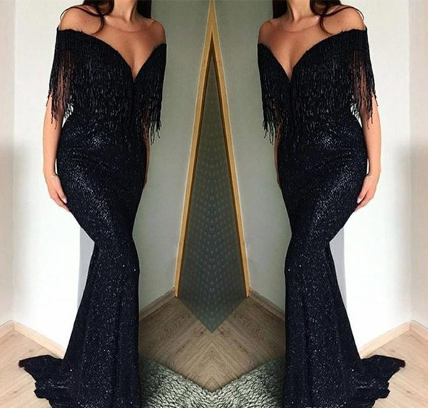 Black Off Shoulder Prom Dresses 2019 Mermaid Tassels Holidays Graduation Wear Evening Party Gowns Custom Made Plus Size