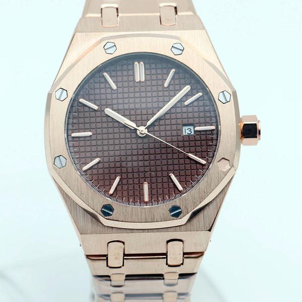Luxus Offshore Royal Oak Automatische 18k Rose Gold Brown Face Transparent Herrenuhren 15400OR Edelstahl Floding Verschluss Armbanduhren