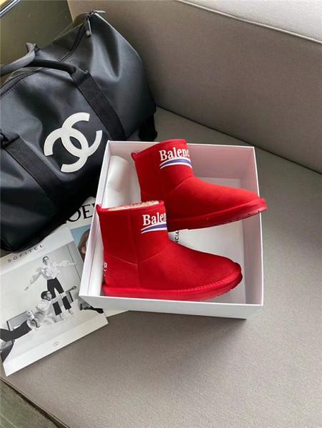 Moda botas para la nieve plataforma de diseño de piel de las mujeres botas de lujo integrado corta el tamaño de las botas de algodón zapatos de las mujeres de gamuza impermeable 35-40