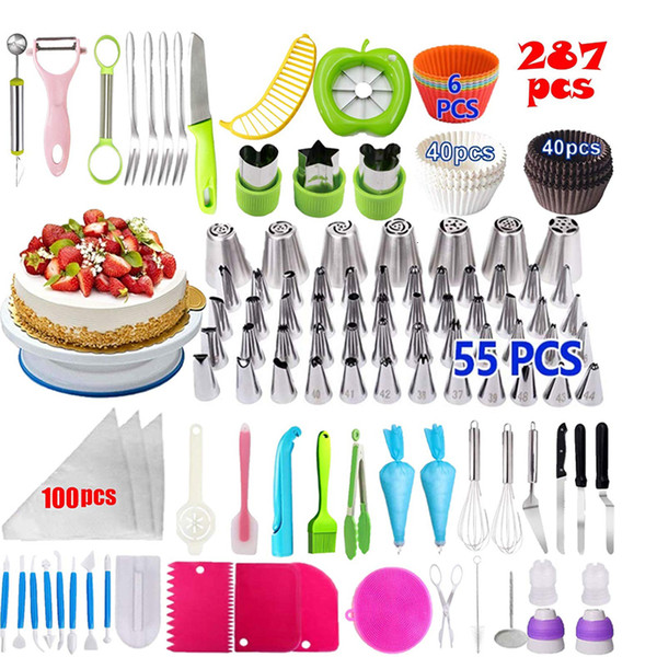 287PCS Fruit Cake Decorating Supplies Fruit Tools Cake Decorating Nozzles Cake Rotating Turntable Piping Icing Tips Baking Tools T191213