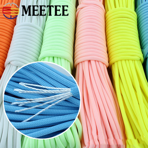 Umbrella Rope Cord Outdoor Luminous Paracord 9-core 20m/pcs 4mm Nylon Braided Safety Rescue Bundled Climbing Rope Camping CD009