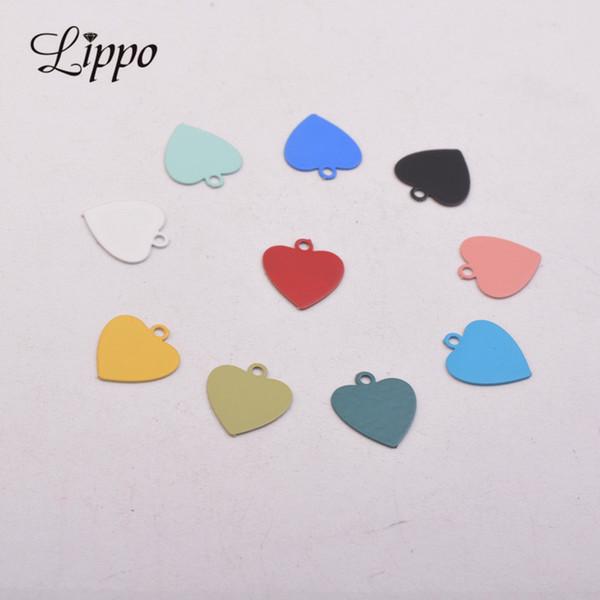 Küpeler Takı Yapımı İçin 100pcs AC10605 10 * 11mm Pirinç Küçük Kalpler Charms Çok renkli Aksesuarlar Askılı