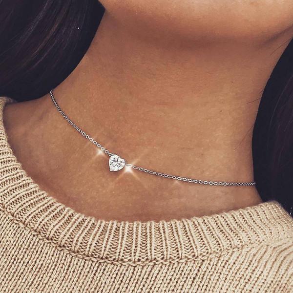 Простой Нежный Кристалл Циркон Love Heart Choker Ожерелья для Женщин Золото Серебро Цепи Chocker Ожерелье Ожерелье Ювелирные Изделия Девушки Подарок YN942