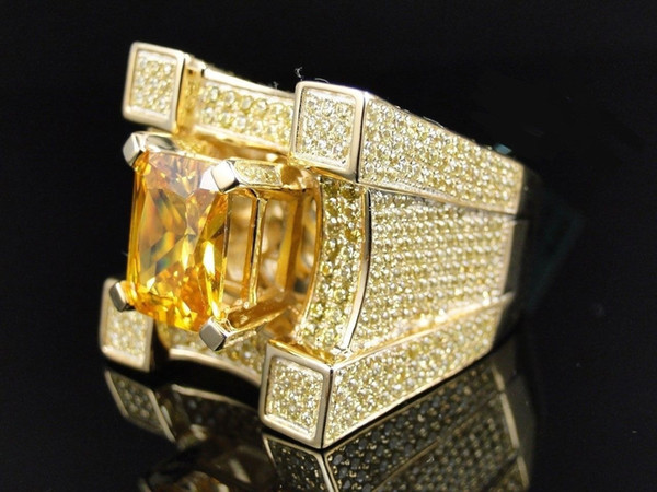 18k Yellow Gold Plated Over Mens Iced Out Solitaire Emerald Yellow Diamond Pinky Cocktail Ring Size 5-14#