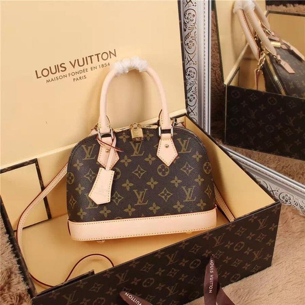 top popular LouisVuitton ALMA BB Shoulder Bags For Women Handbags 0KOR Messenger Bags Shell Bag Tote Men Purse Sac LOUIS 2019