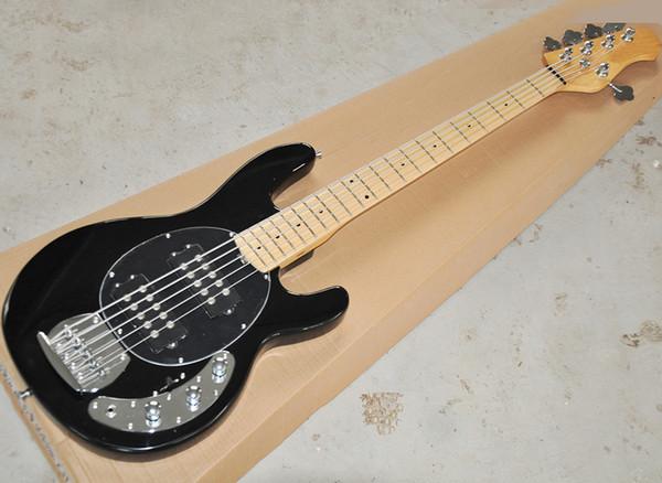 4 Strings Black Bass elettrico con 2 pickup, nero Pickguard, Acero Manico di chitarra, può essere personalizzato come richiesto