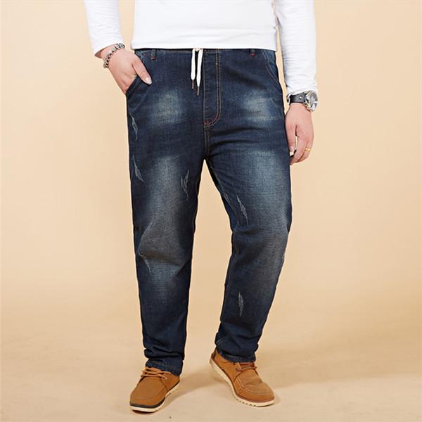 Gordo Grande Tamanho 46 48 Alta Stretch Jeans dos homens 2019 Novo Outono Inverno Elástico Na Cintura Denim Harem Pants Calças Lápis Nostálgico, 097