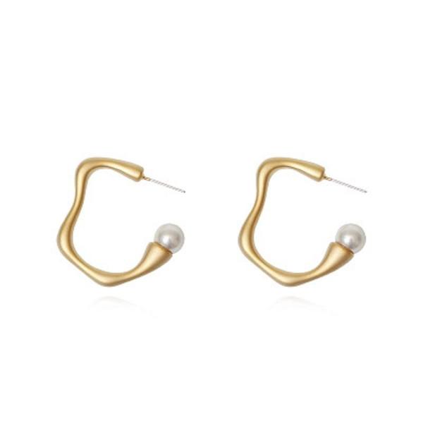 Retro Circle Geometric Pearl Earrings for Women Girls Wave Round Hoop Earring Dangle S925 Silver Needle Vintage Jewelry Wholesale
