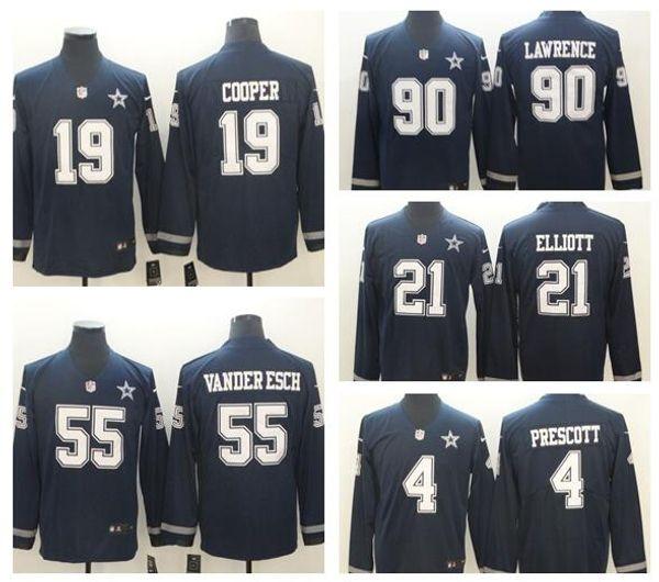 meet 86f43 a02e7 2019 Men Dallas Cowboys 21 Ezekiel Elliott 4 Dak Prescott 90 DeMarcus  Lawrence 55 Vander Esch Cooper American Football Long Sleeve Jersey From ...