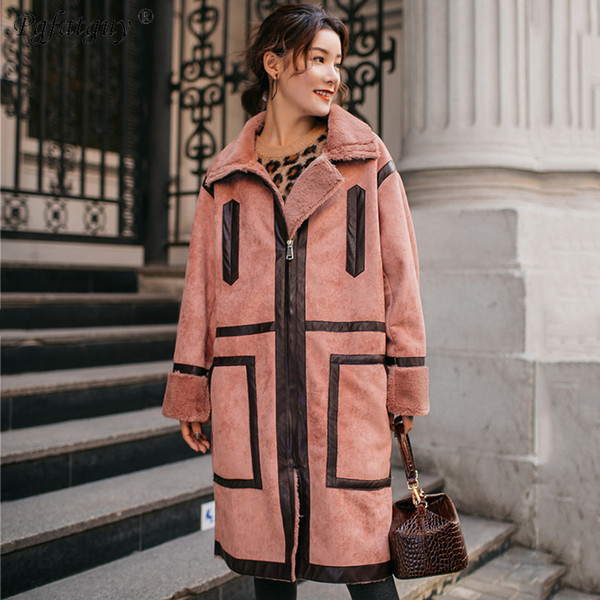 2019 Autumn Suede Lamb Trench Coat Women Abrigo Mujer Long Elegant Outwear Female Overcoat Slim Coral Red Suede Zipper Trench