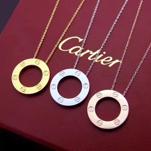 Cerchio rotondo Cartie Collana Donna Gioielli di lusso Catena pendente in acciaio inossidabile Collana di design di marca Collier Bijoux Femme Vite