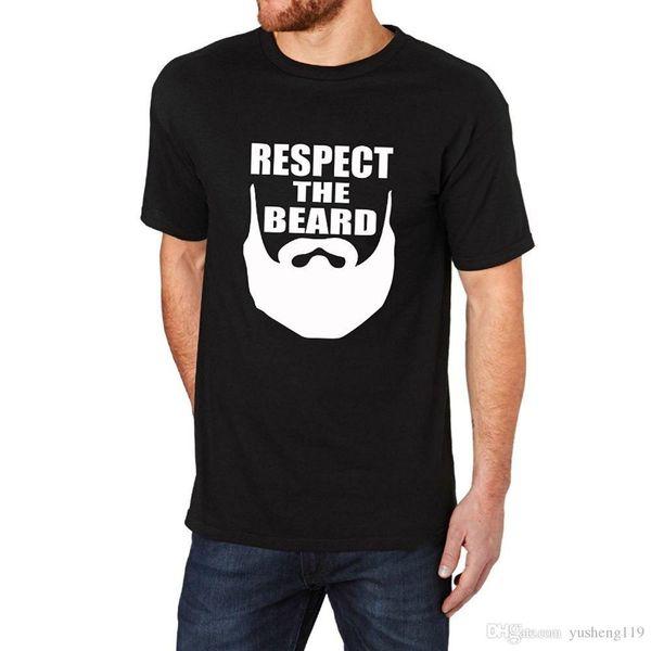 Camiseta Venda 100% Algodão Homens Tripulação Pescoço Dos Homens Respeito A Barba Preto T-Shirt Tee Manga Curta Tee