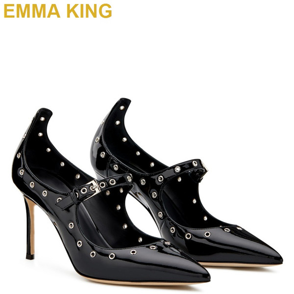 Rivet Studded Mary Jane Pumps Zapatos de tacón alto de charol negro para mujer Punta puntiaguda 10cm 12cm Tacones de aguja para mujer Zapatos de baile