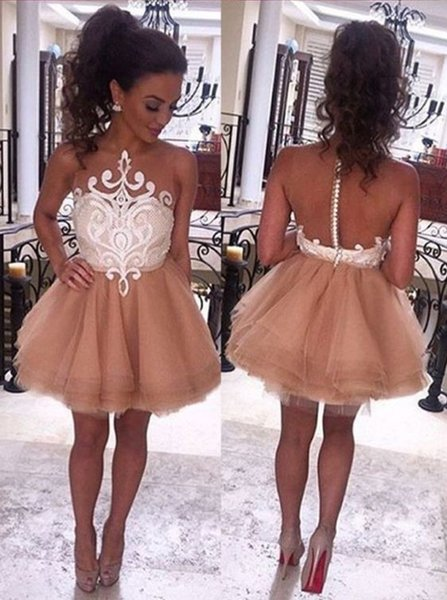 2019 A-Line Jewel Sleeveless Short Champagne Prom Dresse with White Lace Fashion Homecoming Dress Sexy Party Evening Gowns