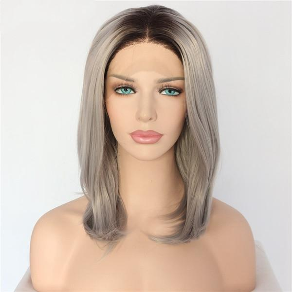 Fashion Hand Tied Ombre Dark Roots To Silver Grey Short Bob Style Heat Resistant Fiber Straight Glueless Synthetic Lace Front Wigs for Women