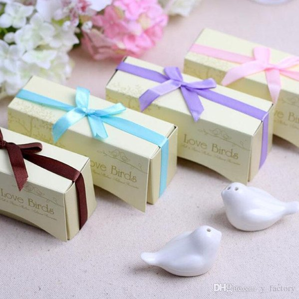 Wedding Favor Love Bird Salt and Pepper Shaker Set Party Gift with Package Box for Wedding Gift or Party Favors
