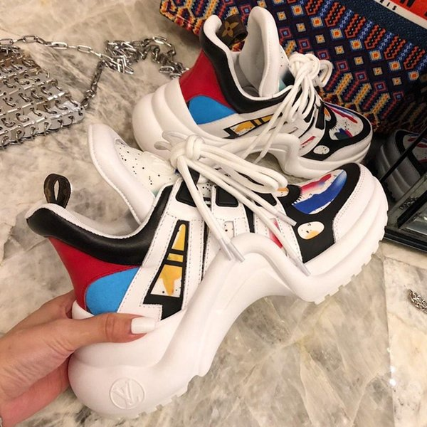 2019 High Quality Archlight Sneaker Newest Women Luxury Fashion Designer Shoes Mens Trainer Lace Up Leather Breathable Comfortable Sneakers