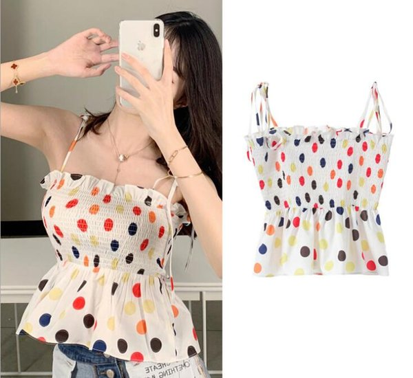 summer new women vest Slim color wave point sling tube top chest earrings elastic chiffon top female sexy sling t shirts