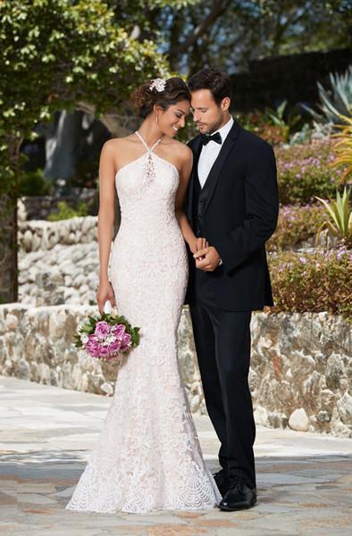 Mermaid Halter Lace Wedding Dresses 2019 vestidos de noiva Beaded Appliques Bridal Gowns with Open Back Bride Formal Dress