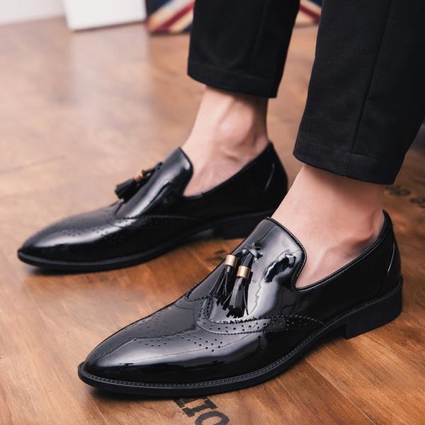 2018 Drop Shipping Plus Größe 38-47 Klassische Komfortable Quaste Männer Formale Schuhe Müßiggänger Männliche Hochzeitsgesellschaft Spitzen Flache Schuhe