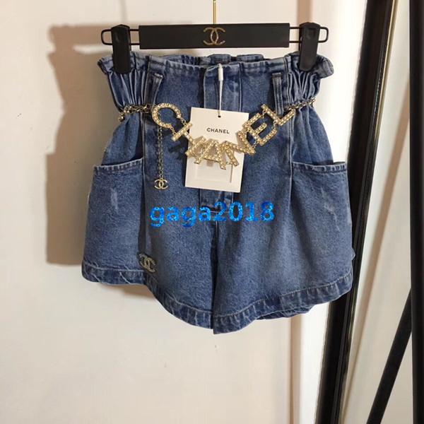 Kadın kızlar denim şort kristal mektup kemer elastik bel gevşek boy mini jean pantolon kısa etek pantolon high-end moda lüks elbise