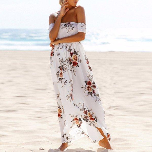 Bohemio largo vestido de las mujeres del hombro vestido de la playa del verano de la vendimia de la gasa blanca larga maxi de hendidura vestidos de festa # 233933