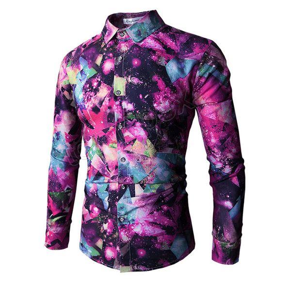 Novità Camicie Uomo Casual Primavera 2019 Stampa 3D Camicie Galaxy Space Slim Fit con Maniche Lunghe Homme Streetwear Fashion Camicetta Top