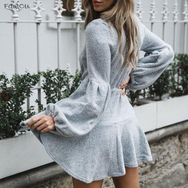 Frauen New V-Ausschnitt mit Rüschen gestrickten Pullover Kleid Herbst-Winter-Lace Up Short beiläufige lange Hülsen-Kleid A-Line Massiv Designer