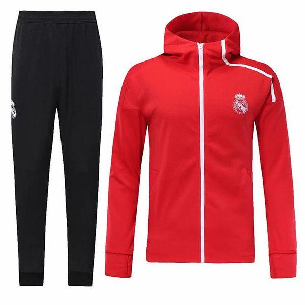 Tailândia Real Madrid Hoodies Jaqueta Kit de Treinamento de Futebol Ternos  2018 Manga Longa Homens Treino 749019aa88d2e