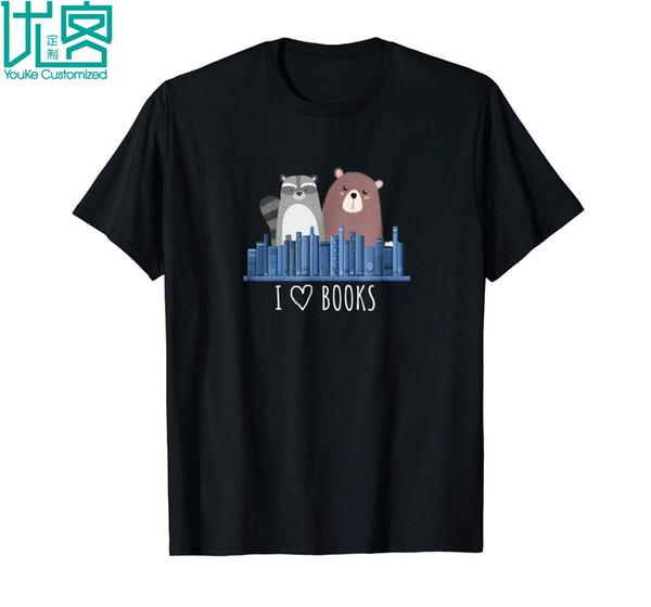 Raccoon And Brown Bear Love Books 2019 Summer Men's Short Sleeve T-Shirt