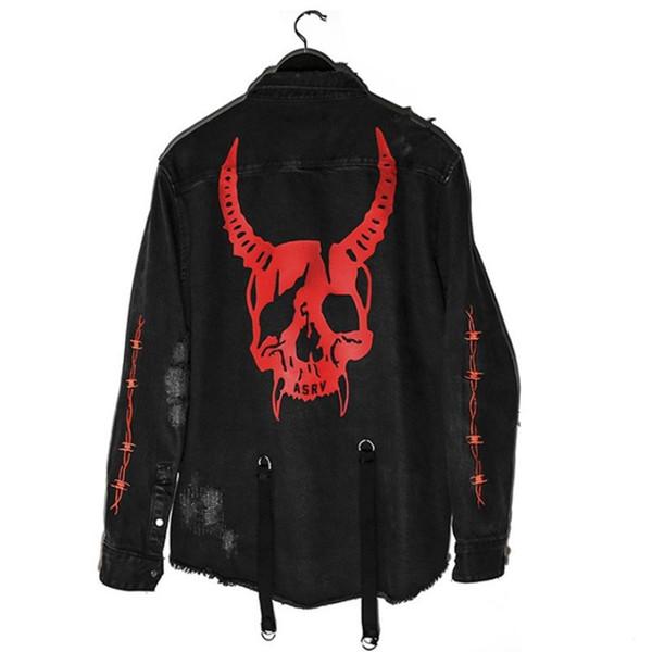 Harajuku Gotik Demon Hunter Kafatası siyah kot ceket erkekler Kaya serseri ağır metal Kazak sudadera jartiyer delik