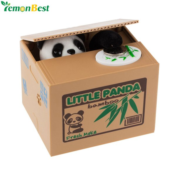 Home Decor Boxes Cute Automatic Stole Coin Piggy Bank Panda Yellow / White Cat Money Box 11.5x9.5x9cm Money Saving Box Moneybox