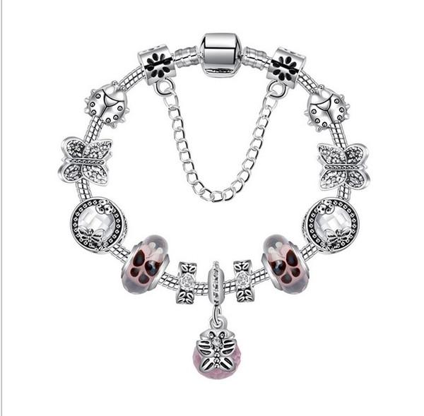 925 Ayar Gümüş Murano Cam Boncuk Charm Pembe Kelebek Ile Kristal Top Kolye Boncuk Fit Kadın Pandora Bilezik Diy Takı
