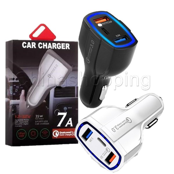 top popular 35W 7A 3 Ports Car Charger Type C And USB Charger QC 3.0 With Qualcomm Quick Charge 3.0 Technology For Mobile Phone GPS Power Bank Tablet P 2021