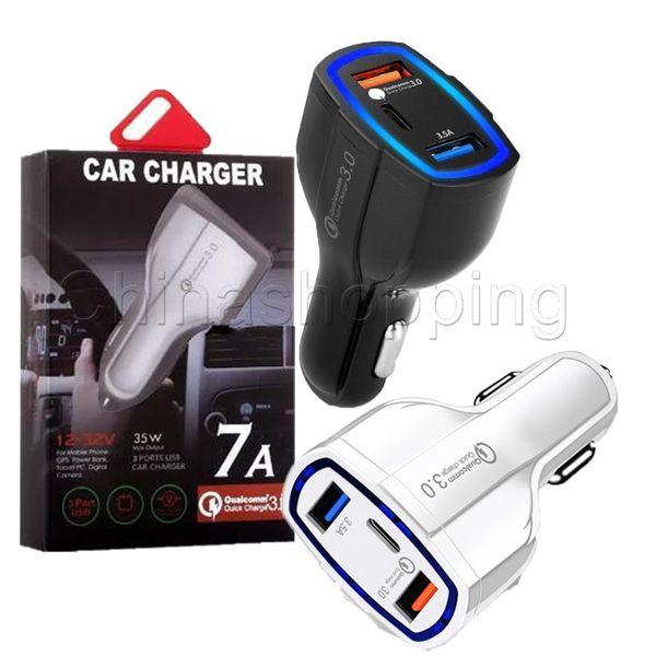 35 W 7A 3 Portas Carregador de Carro Tipo C E Carregador USB QC 3.0 Com Qualcomm Rápida Carga 3.0 Tecnologia Para O Telefone Móvel GPS Power Bank Tablet P