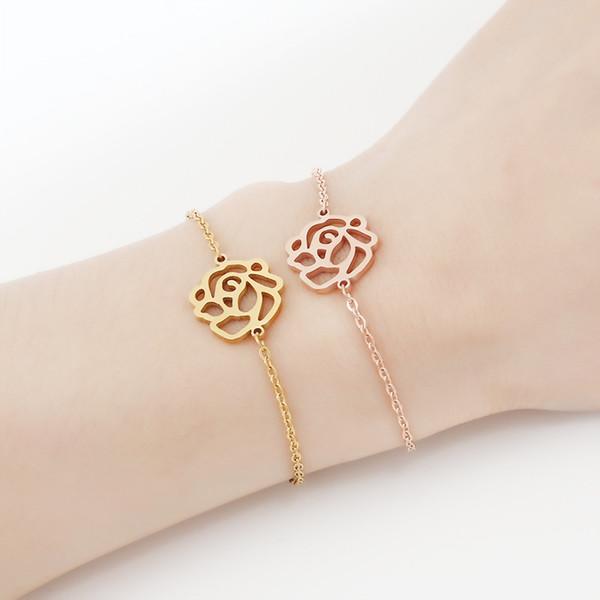 Rose Pulseira de Corrente Pulseira de Aço Inoxidável Oco Rose Gold Silver Mulheres Meninas Acero Inoxidable Joyeria