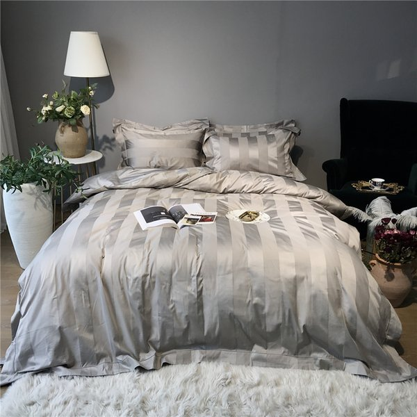 Luxury modern bedroom set 10cm satin stripe duvet covers 100% Cotton Super quality Percale tribute silk bedding set grey man